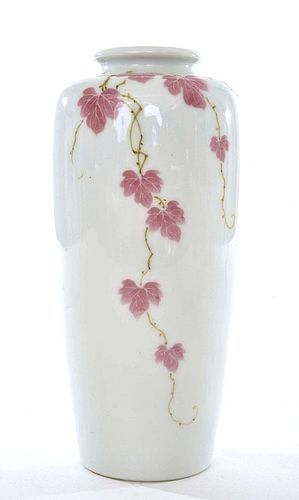Old Japanese Izushi Studio Vase Pink Grapes Leaf Sg