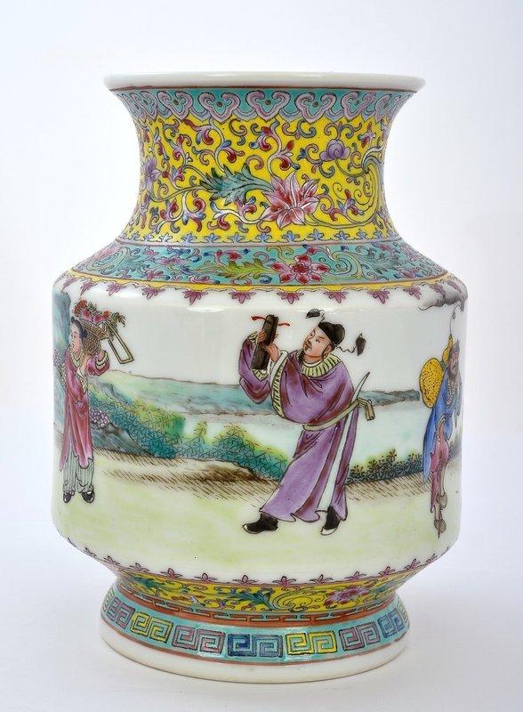 Chinese Famille Rose Porcelain  Vase 8 Immortal God Mk