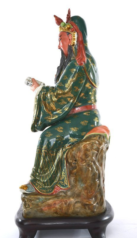 Chinese Famille Rose Guan Yu Warrior Figurine Figure