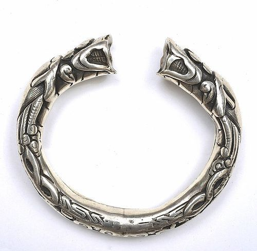 Early 20C Chinese Sterling Silver Bracelet Bangle Double Dragon Mk
