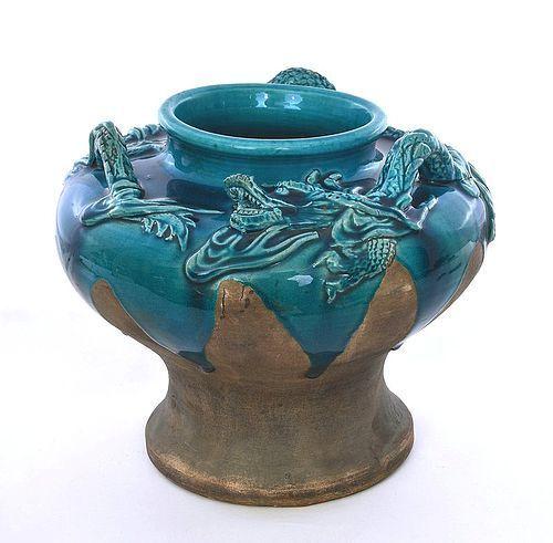 Old Japanese Awaji Dragon Pottery Ceramic Studio Dragon Vase Mk