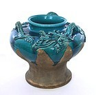 Old Japanese Awaji Dragon Pottery Ceramic Studio Dragon Vase Mk