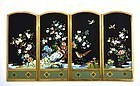 Japanese Cloisonne Enamel Table Screen Panel Bird Inaba Mk