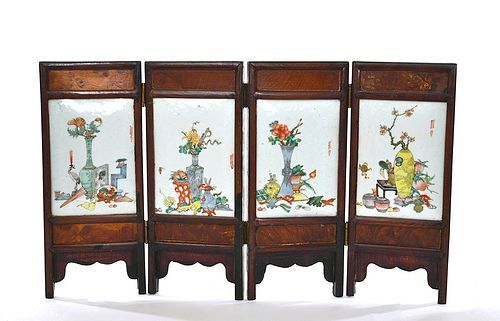Late 19C Chinese Famille Rose Porcelain Plaque Table Screen Sg