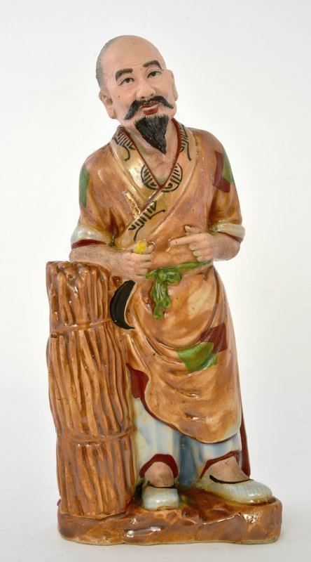 Chinese Famille Rose Porcelain Woodcutter Figure Figurine Mk