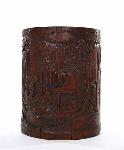 Late 18C Chinese Bamboo Carved Scholar Brush Pot Holder