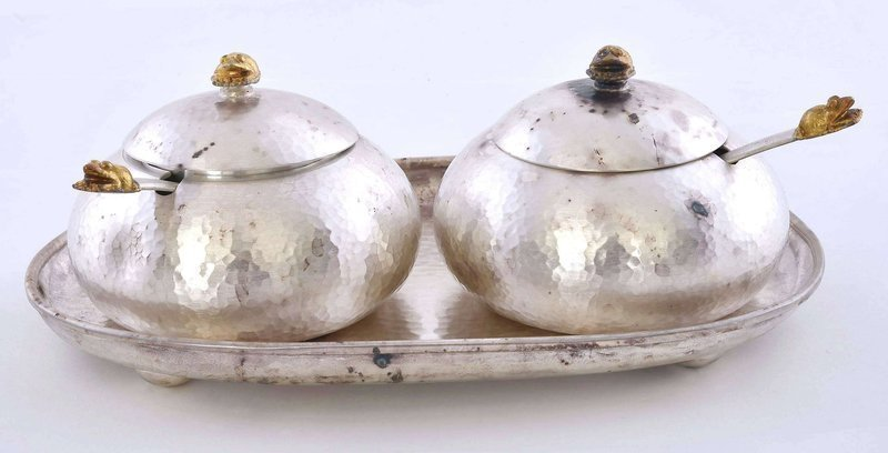 Vintage Korean Gilt Silver Tea Creamer Sugar Bowl Plate Set Box Mk