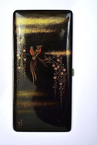 Old Japanese Namiki Lacquer Cigarette Case Box Bird Sg
