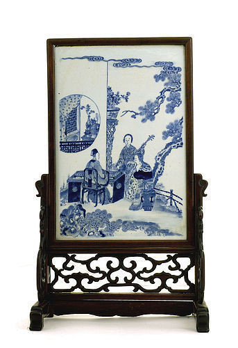 Late 19C Chinese Blue & White Porcelain Plaque Screen Figurine