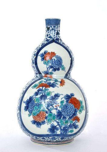 Old Japanese Imari Porcelain Imaemon XII Flower Gourd Vase Sg