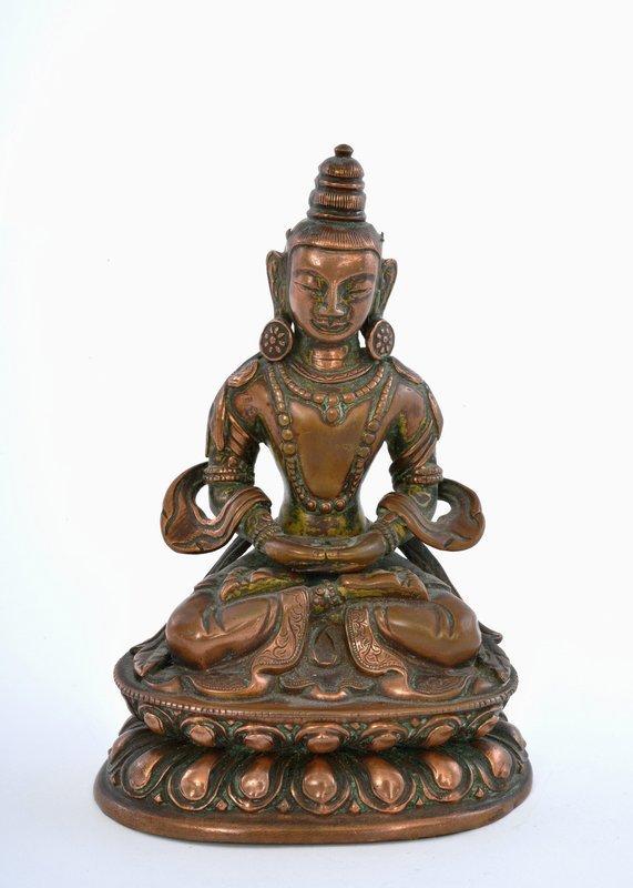 18C Chinese Bronze Copper Repousse Quan Kwan Yin Buddha