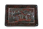 19C Chinese Two Tone Cinnabar Lacquer Carved Tray Plaque Figure