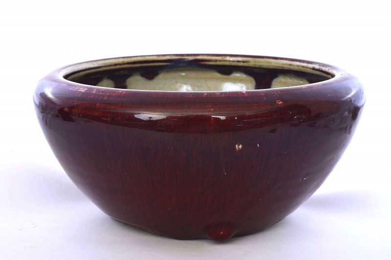 19C Chinese Flambe Ox Blood Oxblood Porcelain Bowl
