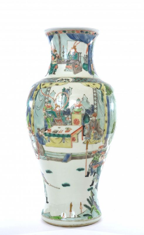 Chinese Famille Rose Verte Porcelain Vase Warrior Figurine Figure