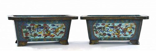 2 19C Chinese Cloisonne Enamel Planter Pot