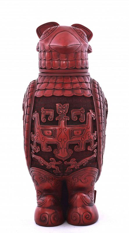 Chinese Cinnabar Lacquer Carved Carving Eagle Bird Shaped Box