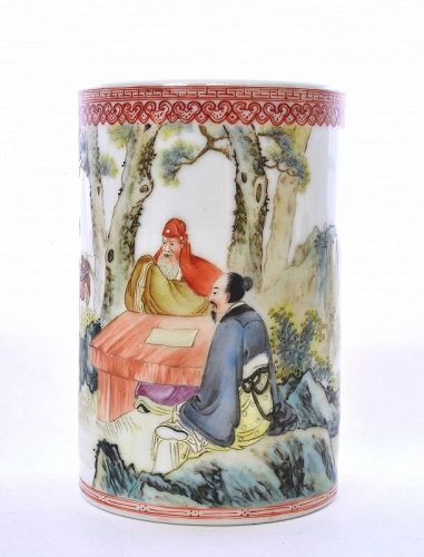 Vintage Chinese Famille Rose Porcelain Scholar Brush Pot Mk