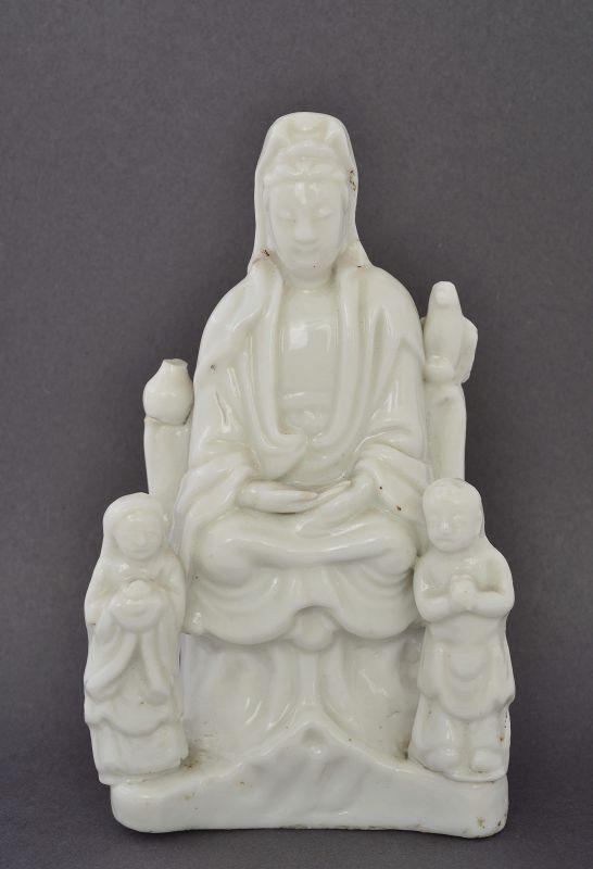 17C Chinese Blanc De Chine Dehua Kwan Yin Buddha Boy & Girl Figurine