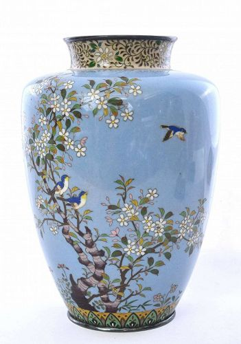 Japanese Cloisonne Enamel Vase Flower & Birds with Silver Rim Mk