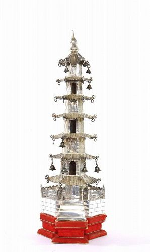 Early 20C Chinese Silver Buddha Pagoda Tower Bells Stand Mk