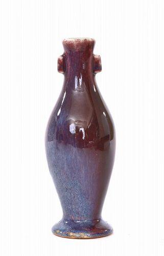 19C Chinese Flambe Ox Blood Porcelain Ears Vase