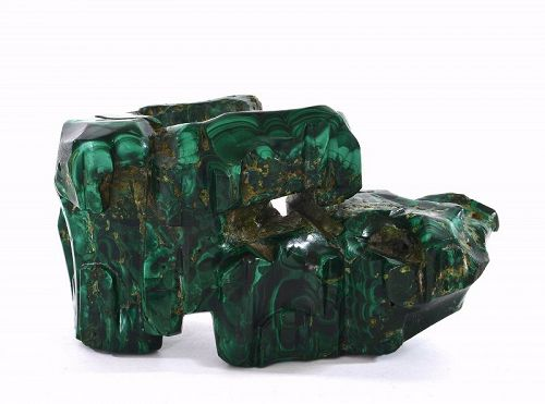 19C Hand Carved Malachite Scholar Stand for Figure