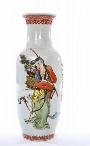 1960' Chinese Famiile Rose Porcelain Vase Lady Figurine Mk