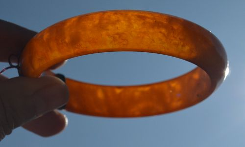 1950's Chinese Amber Carved Carving Bracelet Bangle