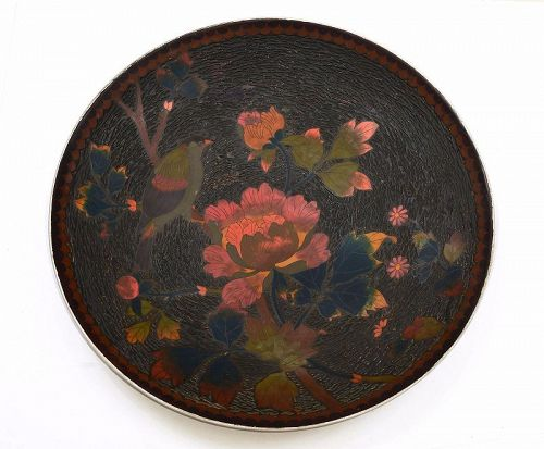 "Japanese Totai Bark Tree Cloisonne Enamel Charger 45 CM 17""D"