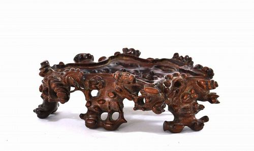 19C Chinese Huanghuali Wood Carved Carving Stand ��梨