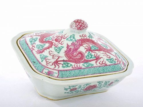 Late 19C Chinese Famille Rose Enamel Porcelain Tureen Dragons