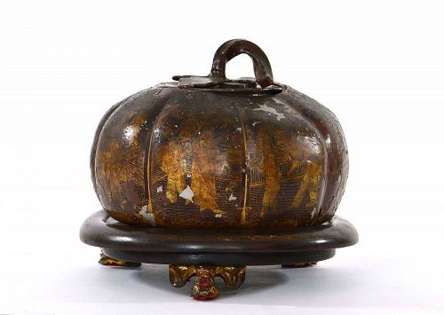 19C Chinese Pewter Lacquer Painted Pumpkin Shaped Covered Jar Bowl