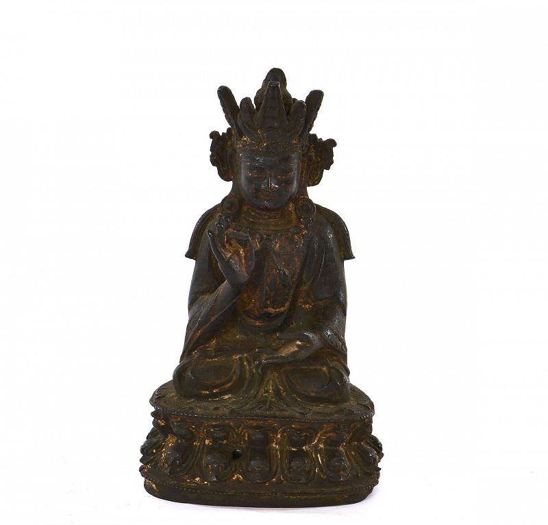 16C Chinese Ming Gilt Bronze Seated Buddha