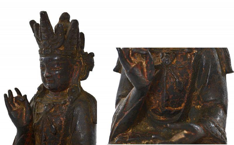 16C Chinese Ming Gilt Bronze Seated Buddha