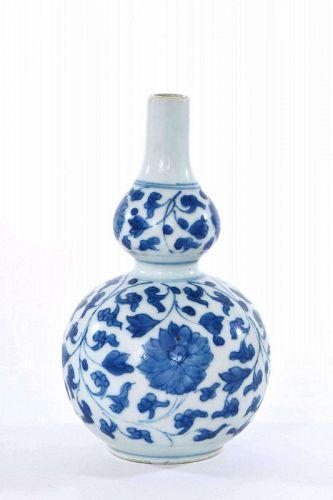 17C Kangxi Chinese Blue & White Porcelain Gourd Vase