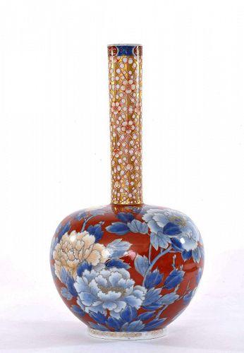 Old Japanese Fukagawa Porcelain Vase Flower Bird Item 1373363