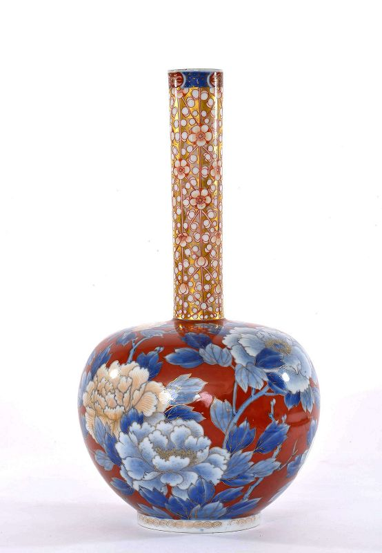 Old Japanese Fukagawa Porcelain Vase Flower & Bird
