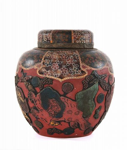 Old Japanese Sumida Totai Cloisonne Cover Jar Shishi Fu Dog Lion