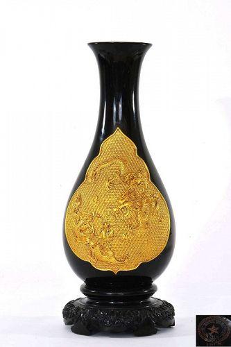1957's Chinese Foochow Foo Chow Fuzhou Fujian Lacquer Vase Dragon Mk