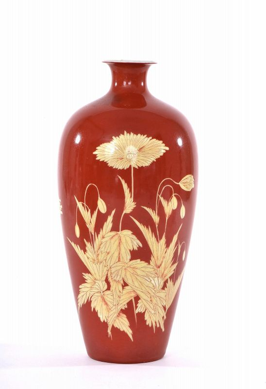 1900's Japanese Studio Makuzu Kozan Flower Vase