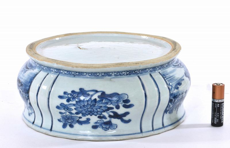 18C Chinese Blue & White Porcelain Censer Incense Burner Landscape