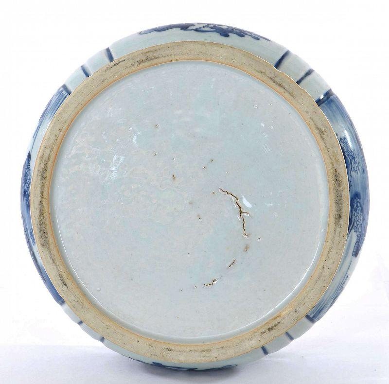 18C Chinese Blue & White Porcelain Censer Incense Burner Landscape