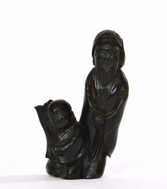 Early 20C Chinese Black Coral Carved Carving Old Sage & Boy Figurine
