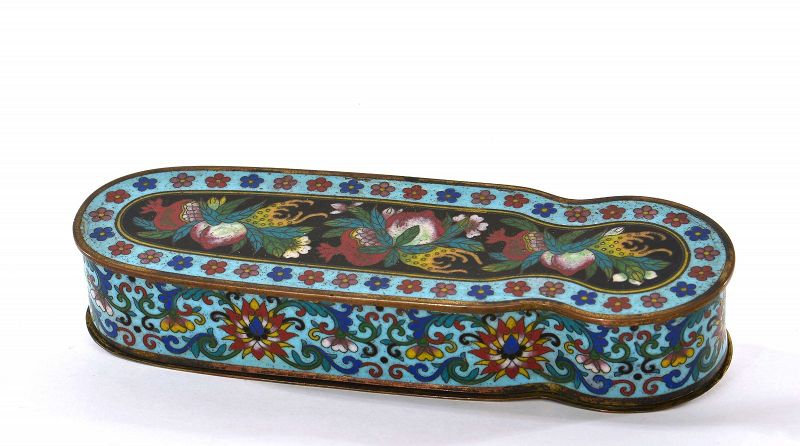19C Chinese Cloisonne Enamel Scholar Box Peach & Pomegranate