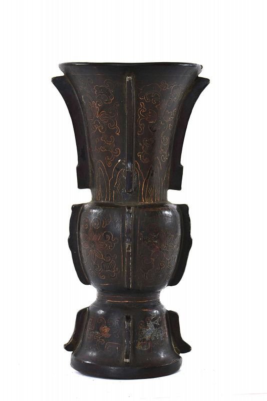 19C Chinese Gilt Pewter Lacquer Wall Vase