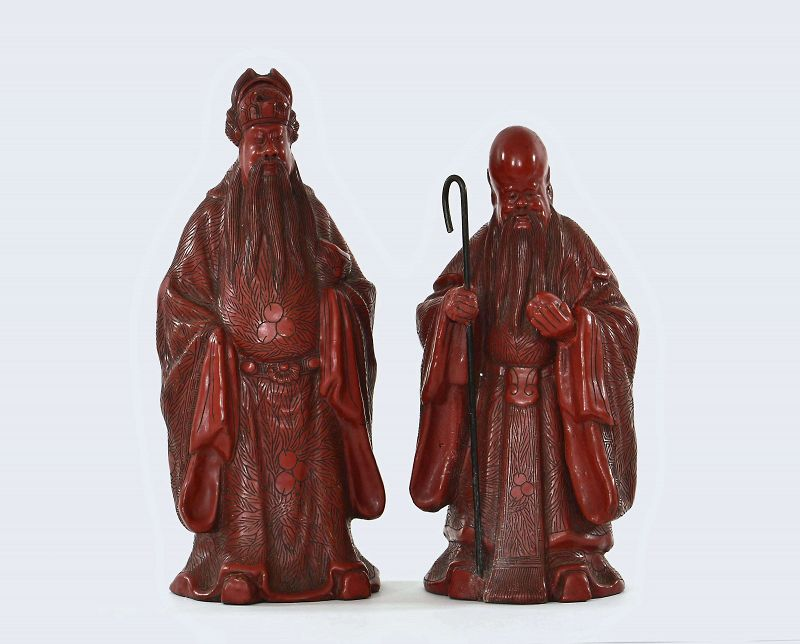 2 Old Chinese Cinnabar Lacquer Carved God  Fu Lu Shou Sanxing