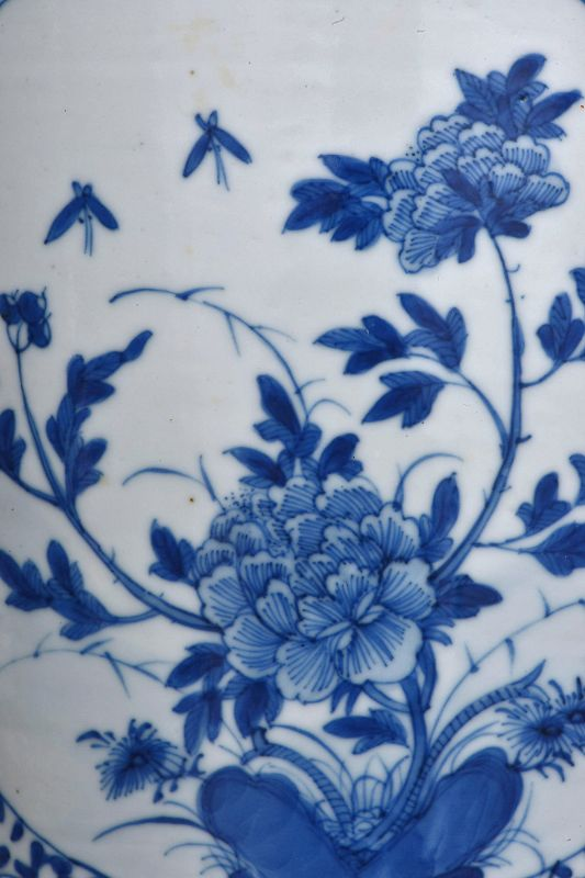 Late 19C Chinese Blue & White Porcelain Planter Lady & Deer