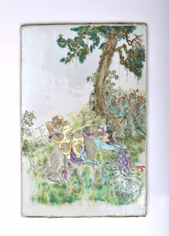 19C Chinese Famille Rose Porcelain Plaque Shou Lao Riding Deer