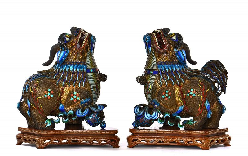 Pair of Chinese Silver Enamel Fu Foo Dog Lion Marked with stand