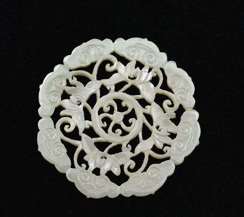 19C Chinese White Jade Pendant Carved Cloud Lily